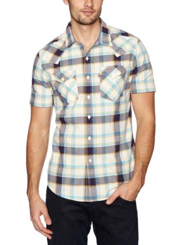 Levi's Short Sleeve Barstow No FFC Men's Shirt Dress Blue/Albion Plaid Small