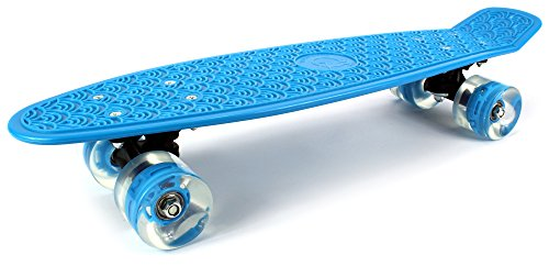 "Boardwalk Cruiser Complete 22"" Inch Banana Skateboard w/ Light Up Wheels, High Quality Bushings, ABEC-5 Bearings (Blue)"