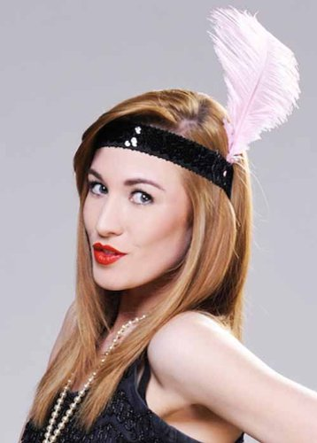 20s Flapper Baby Pink Feather Headband (Infant Pink Flapper Costume)