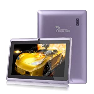 Dragon Touch® 7'' Purple Google Android 4.2 8GB Jelly Bean Allwinner A13 Tablet MID Cortex A8 1.2GHz, Capactive Multiple Touch Screen, Google Play Pre-Installed, USB-OTG, Supports Skype Video Chat Calling, Netflix Movies and Flash Player MID748U-A13 [by TabletExpress] (Purple)