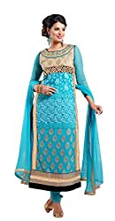 Siya Fashion women's Georgette Party Wear Unstitched Dress Material(si2053_ Sky Blue color)
