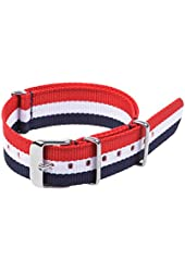 Cosmos ® 20mm Nylon Easily Interchangeable Replacement Watch Strap Bands (Red White Blue)