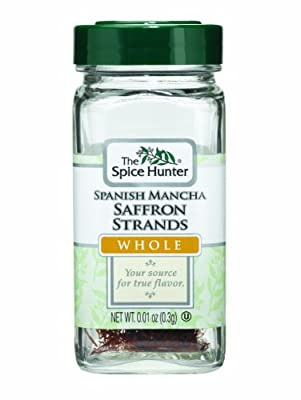 The Spice Hunter Saffron Strands, Spanish Mancha, Whole, 0.01-Ounce Jars (Pack of 6) by The Spice Hunter