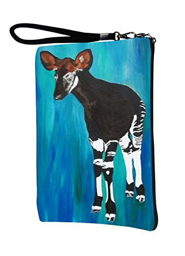 Okapi Large Vegan Wristlet, Pencil Bag, Cosmetic Bag - From My Original Paintings - Support Wildlife Conservation, Read How (Okapi - New Hope)
