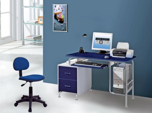 Buy Low Price Comfortable Mad Tech 30x23x52 Drk Blue & Silver Mdf Panel & Steel Frame Computer Office Desk Table (B004W0MDRC)