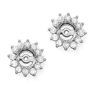 14K White Gold 1 ct JK Diamond Earring Jackets