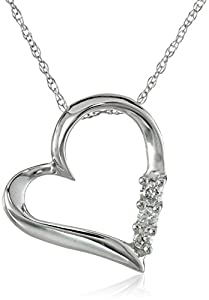 10k White Gold and Diamond Three-Stone Heart Pendant Necklace (0.1 cttw, I-J Color, I2-I3 Clarity), 18