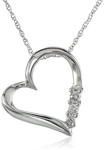 Gift idea diamond heart pendant 10k white gold and diamond three stone heart pendant necklace 01 cttw i j color i2 i3 clarity 18 mozeypictures Gallery
