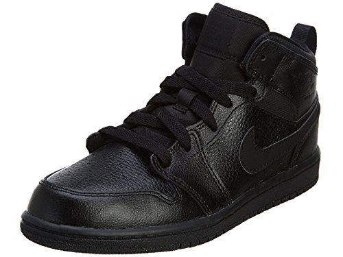 Nike Jordan Kids Jordan 1 Mid BP Black/Black/Black Basketball Shoe 11 Kids US (Aj 1 Black compare prices)