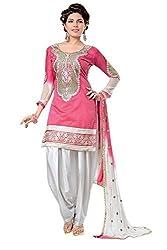 Shraddha Fashion Hub Pink BK Chanderi Cotton Semi Stiched Dress Material