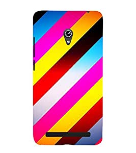 MULTICOLOURED SLANTING LINES PATTERN 3D Hard Polycarbonate Designer Back Case Cover for Asus Zenfone 5 A501CG :: Asus Zenfone 5 A500CG