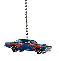 Hot Wheels 1968 BLUE orange flames \'68 DODGE DART muscle car Ceiling FAN PULL light chain