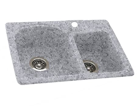 Swanstone KSDB-3322.042 33-Inch by 22-Inch Drop-In Double Bowl Kitchen Sink, Gray Granite