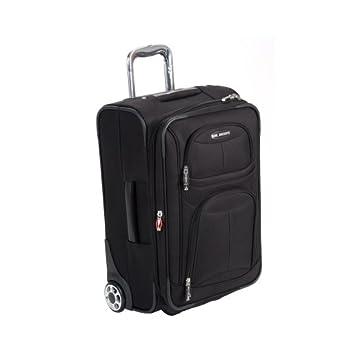 "Delsey Luggage Helium Fusion 3.0 Expandable Suitcase, Black, 21""x8.25""x13.5"""