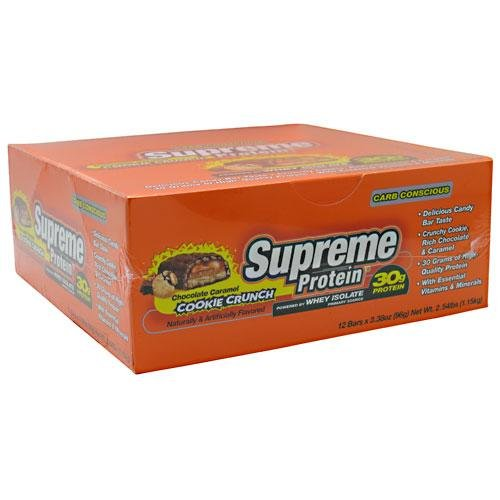 Supreme Protein 96 g Chocolate Caramel Cookie Crunch Whey Protein Snack Bars - Box of 12