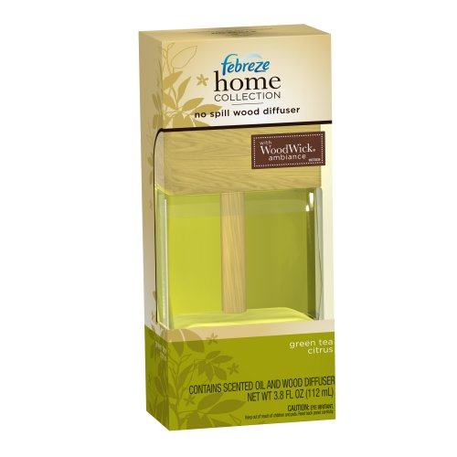 Febreze Home Collection No Spill Wood Diffuser Green Tea Citrus Scent, 3.8-Ounce