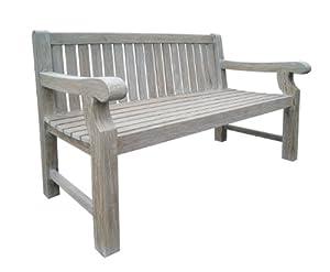 Solid heart wood teak 3 seater 150cm garden bench white washed patio furniture - Balancin jardin ikea rouen ...