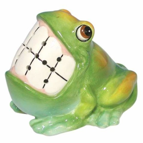 2.75 Inch Grinning Green and Yellow Frog Ceramic Toothpick Holder