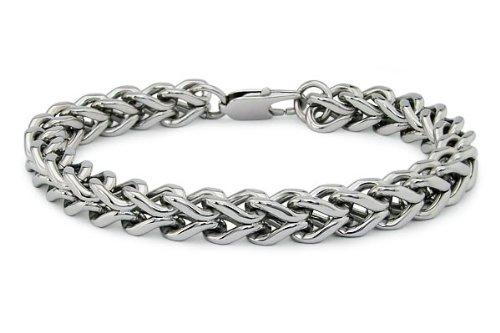 Stainless Steel Men's Square Curb Link Bracelet 8.5