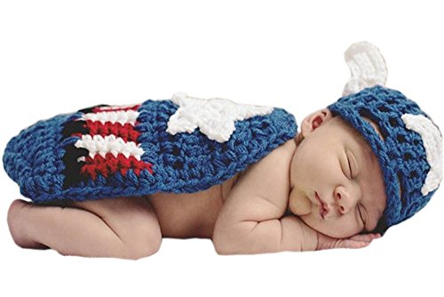 Pinbo Newborn Baby Photography Prop Crochet Knitted Captain America Hat Cape