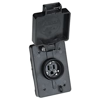 Woodhead 60W47BLK Watertite Wet Location Straight Blade Receptacle, Female, Single Flip Lid, 3 Wires, 2 Poles, NEMA 5-15 Configuration, Black, 15A Current, 125V Voltage, 3ft Cord Length