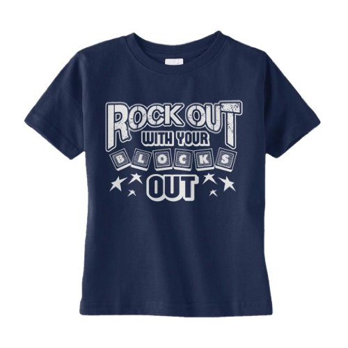 Threadrock Little Boys' Rock Out With Your Blocks Out Infant T-Shirt 24M Navy front-1022363