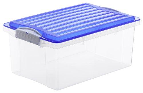Rotho-Aufbewahrungs-Kiste-COMPACT-transparent-mit-Deckel-in-blau-Lagerbox-aus-Kunststoff-im-DIN-A4-Format-Inhalt-13-Liter-Plastikkiste-ca-395-x-275-x-18-cm