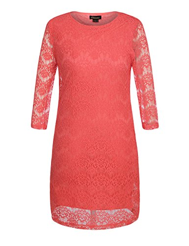 Chicwe Women's Plus Size Lined 3/4 Sleeves Lace Dress 16, Coral (Plus Size Stores)