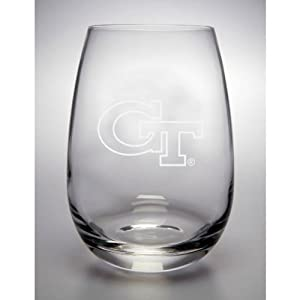 Georgia Tech Yellow Jackets 15 Oz Deep Etched Stemless Red Wine Glass