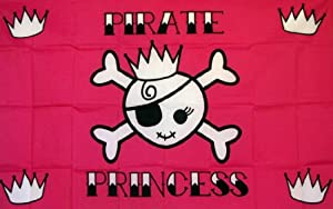 Pirate Princess Crown Indoor Outdoor Parade Dyed Flag by Flag