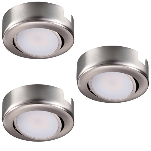 GetInLight Dimmable and Swivel, LED Puck Light Kit with ETL List, Recess or Surface Mount Design, Warm White 2700K, Brushed Nickel Finish, (Pack of 3), IN-0107-3-SN (Dimmable Led Puck Lights compare prices)