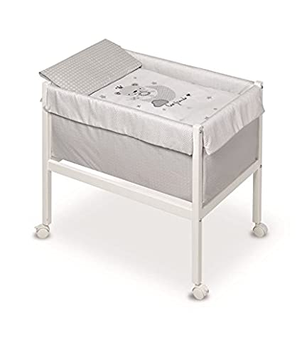 Pirulos 20012410–Minicuna quadrata, motivo Love Friends, 61x 90x 80cm, colore: bianco/grigio