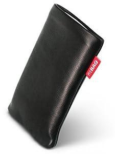 fitBAG Beat Schwarz Handytasche Tasche aus Echtleder Nappa mit Microfaserinnenfutter für HTC One M8 (neues Modell April 2014)