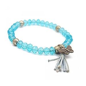 bijoucolor - Bracelet perles cristal et breloque papillon