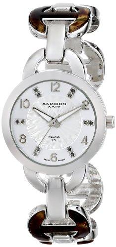Akribos XXIV Women's Lady Diamond Silver-Tone Watch with Two-Tone Bracelet