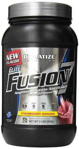Dymatize Nutrition Elite Fusion-7 Straw Protein Powder, Strawberry Banana, 2 Pound