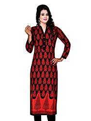 Spangel Fashion Red Color Choice Women's Cotton Stitched Kurti (Cotton, Large)