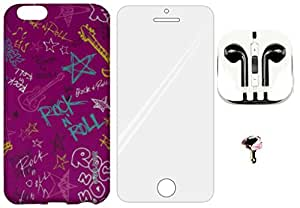 4-in-1 Mobile Back Cover, Tempered Glass, Earphone with Charms Cap for Apple iPhone 6 ZT0183