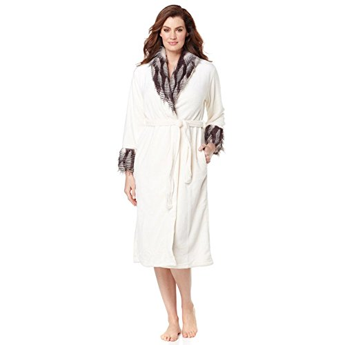 adrienne-landau-plush-robe-with-faux-fur-trim-white-snow-animal-print-xl-1x-size