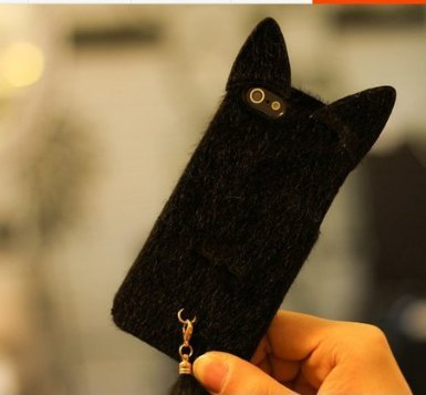 Shark® Great gift! Warm your hand in winter,Luxury soft fur with tail matching cases for (Black-iphone 6 plus(5.5inch))