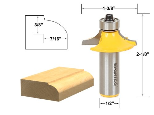 Yonico 12161 Drawer and Cabinet Door Front Edging Thumbnail Router Bit 1/2-Inch Shank (Door Edging compare prices)