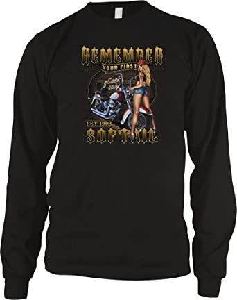 Remember Your First Softail Motorcycle Mens Thermal Shirt, Sexy Chick, Biker Til I Die Design Mens Long Sleeve Thermal, Small, Black