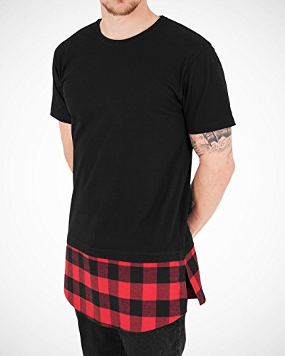 Urban Classics Herren T-Shirt Shaped Flanell Bottom Tee, Schwarz/Red, S, TB1098-00702-0051