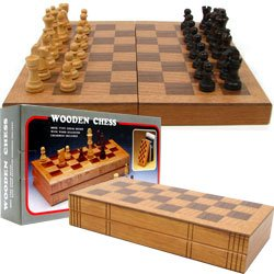 Chess Board Wooden Book Style w/ Staunton Chessmen. Product Category: Toys & Games > Chess Sets