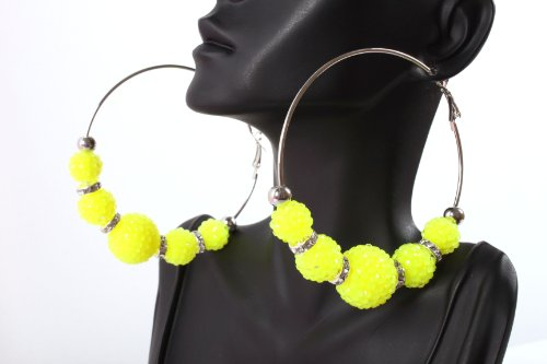 Neon Yellow Shamballah 3 Inch Hoop Earrings with 5 Disco Balls and 4 Iced Out Rondelle Loops Basketball Mob Wives Lady Gaga Poparazzi
