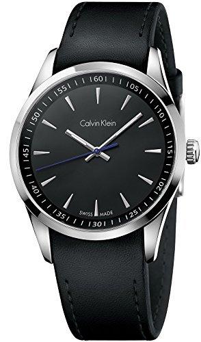 Calvin Klein K5A311C1 - Reloj para hombres, correa de cuero color negro