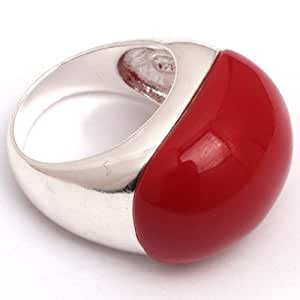 Sweet & Happy Girl'S Store 19x25mm Oval Manmade Red Coral Beads Tibetan Silver Base Ring Send By Random US#6-#9 Women