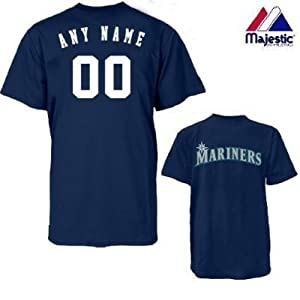 Seattle Mariners Personalized Custom (Add Name & Number) 100% Cotton T-Shirt... by Authentic Sports Shop