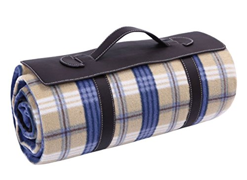 Monstar Classic Plaid Outdoor Blanket With Leath Handle - Water Proof Backing Luxury Soft Chequered Style X-Large Picnic Rug - Easy To Fold - Perfect For Beach, Travel, Picnic Blanket -Machine Wahsed Size On 55X79 Inch front-689217