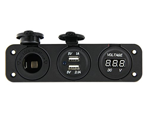 Marine Grade Triple Panel Cigarette Lighter Socket Plug Outlet, Dual USB Charger Outlet, and Digital Display Voltmeter DC 12V by U.S. SOLID (12 Volt Digital Meter compare prices)